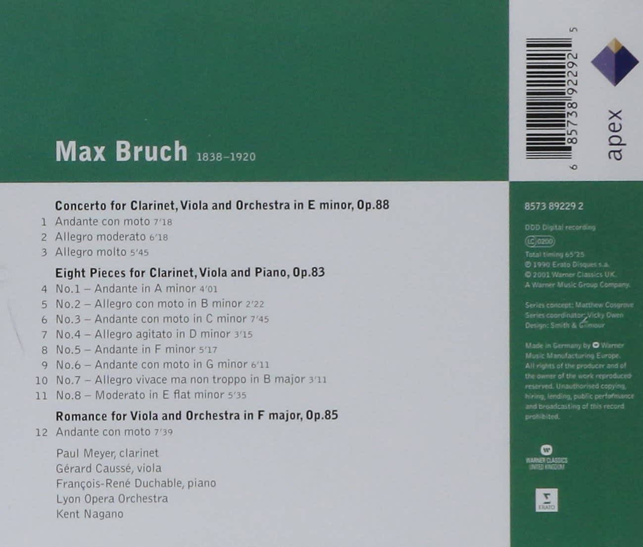 Photo No.2 of Bruch: Works for Clarinet & Viola