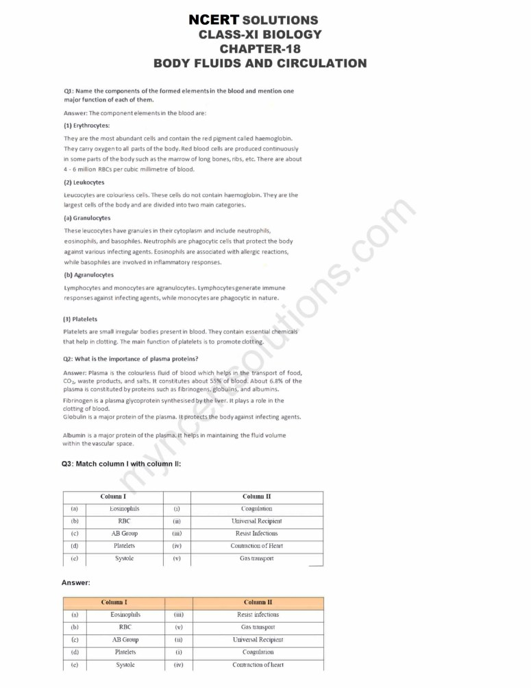Ncert solutions for class 11 biology chapter 18 body fluids and ncert solutions class 11 biology chapter 18 pdf malvernweather Gallery
