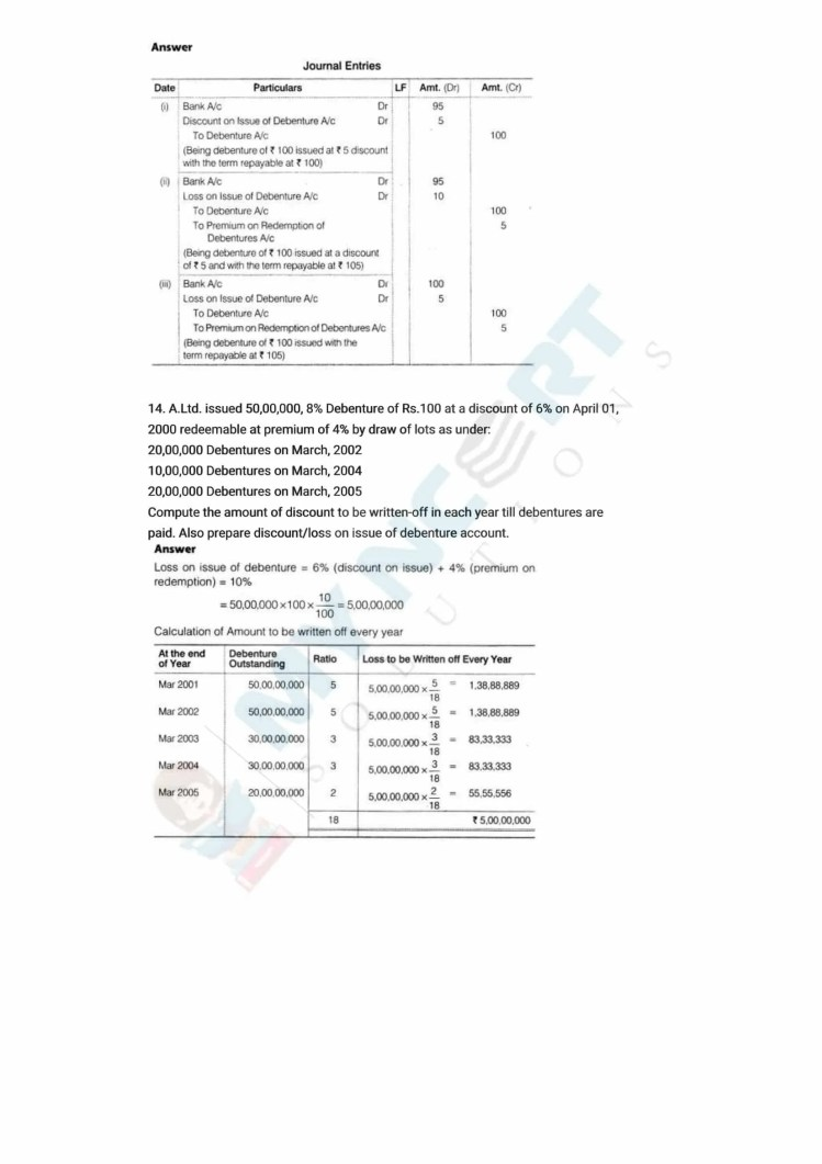ncert solutions class 12 accountancy part 2 chapter 2 issue and redemption of debentures 37