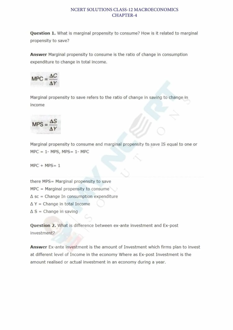 ncert solutions class 12 macro economics chapter 4 determination of Income and employment 1