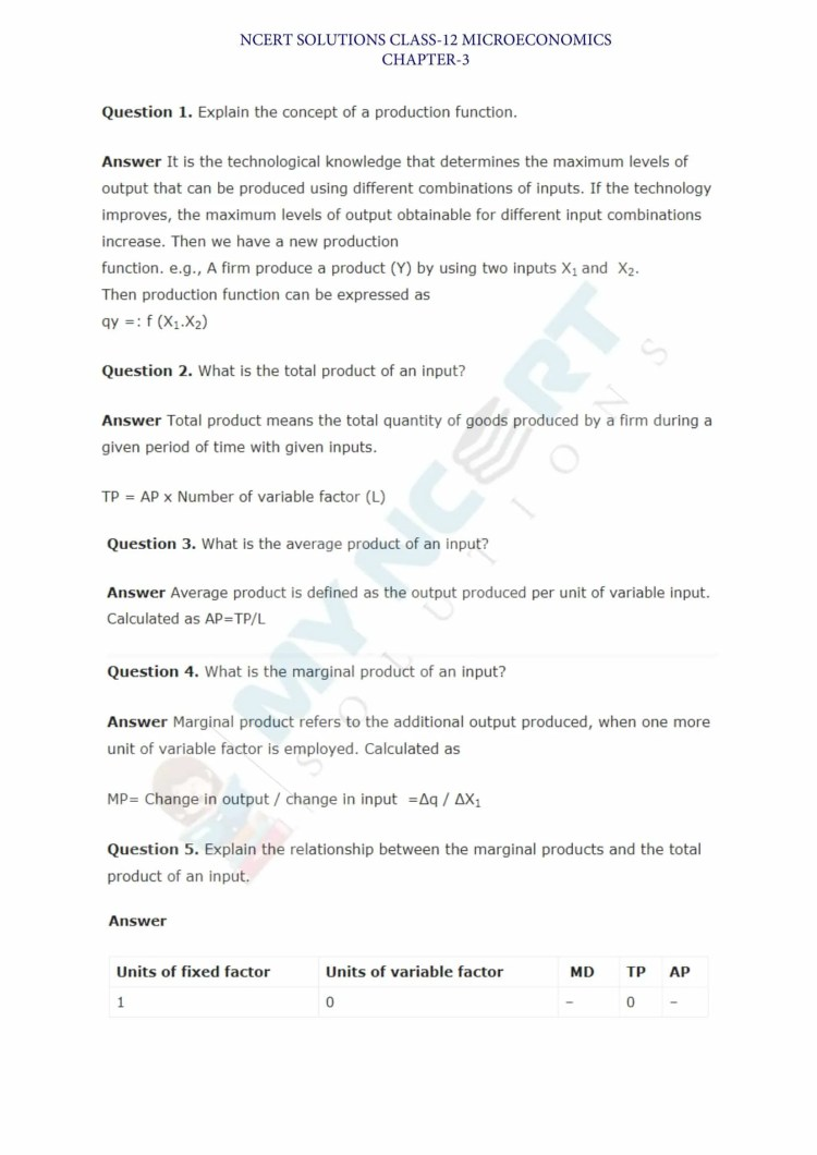 ncert solutions class 12 micro economics chapter 3 production and costs 1