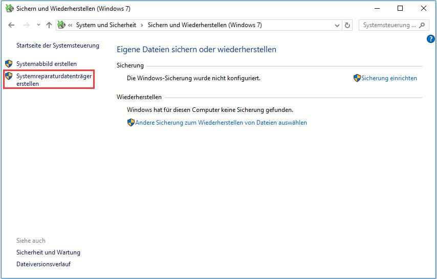 Windows 10 Reparaturdatentrager Systemabbild Erstellen Um Windows Minitool Software Ltd