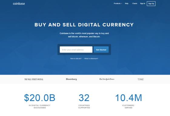 Sitio web Coinbase