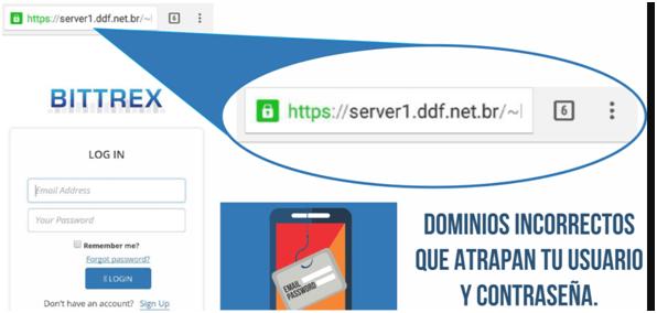 Página web falsa del exchange Bittrex