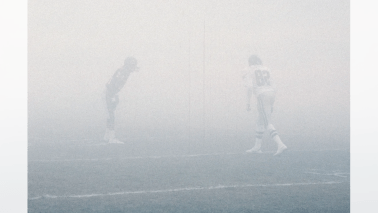 A thick layer of fog covers the field during the NFC Divisional Playoff, a 20-12 Chicago Bears victory over the Philadelphia Eagles on December 31, 1988, at Soldier Field in Chicago, Illinois. (National Football League)