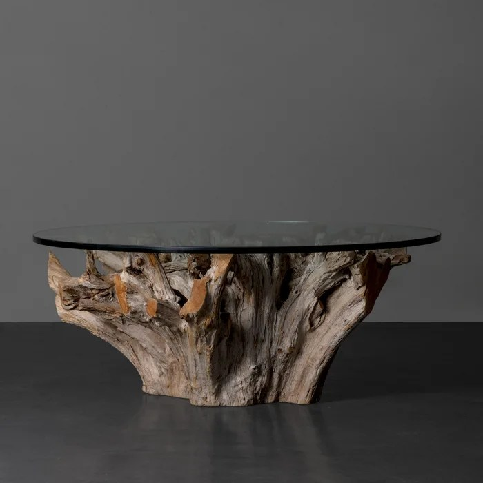 teak root coffee table round for sale