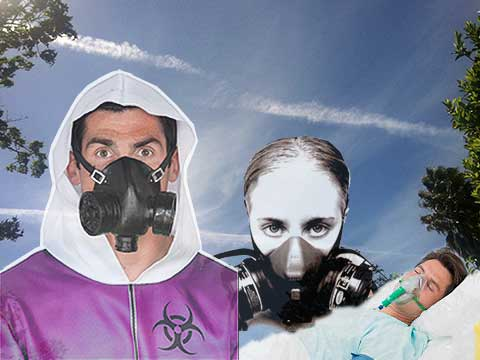 Wearing gas masks to protect from chemtrails