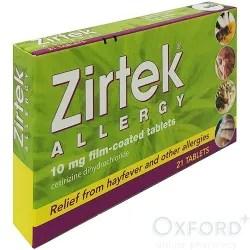 Zirtek Allergy Relief Cetirizine 21 Tablets Oxford Online Pharmacy