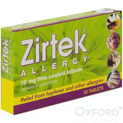 Zirtek Allergy Relief Cetirizine 30 Tablets Oxford Online Pharmacy