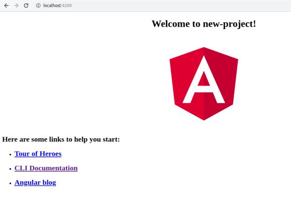 angular new project depuis le navigateur
