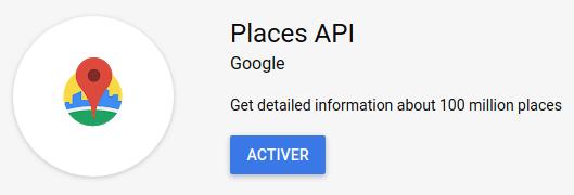 Google place autocomplete : activer Google Place Web Service