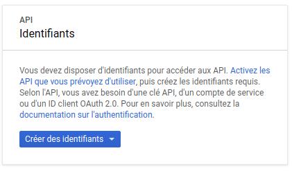 Google place autocomplete : Créer les identifiants