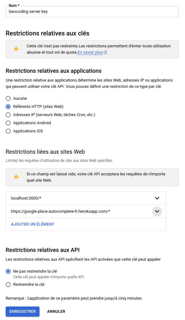 Google place autocomplete : clé restreinte