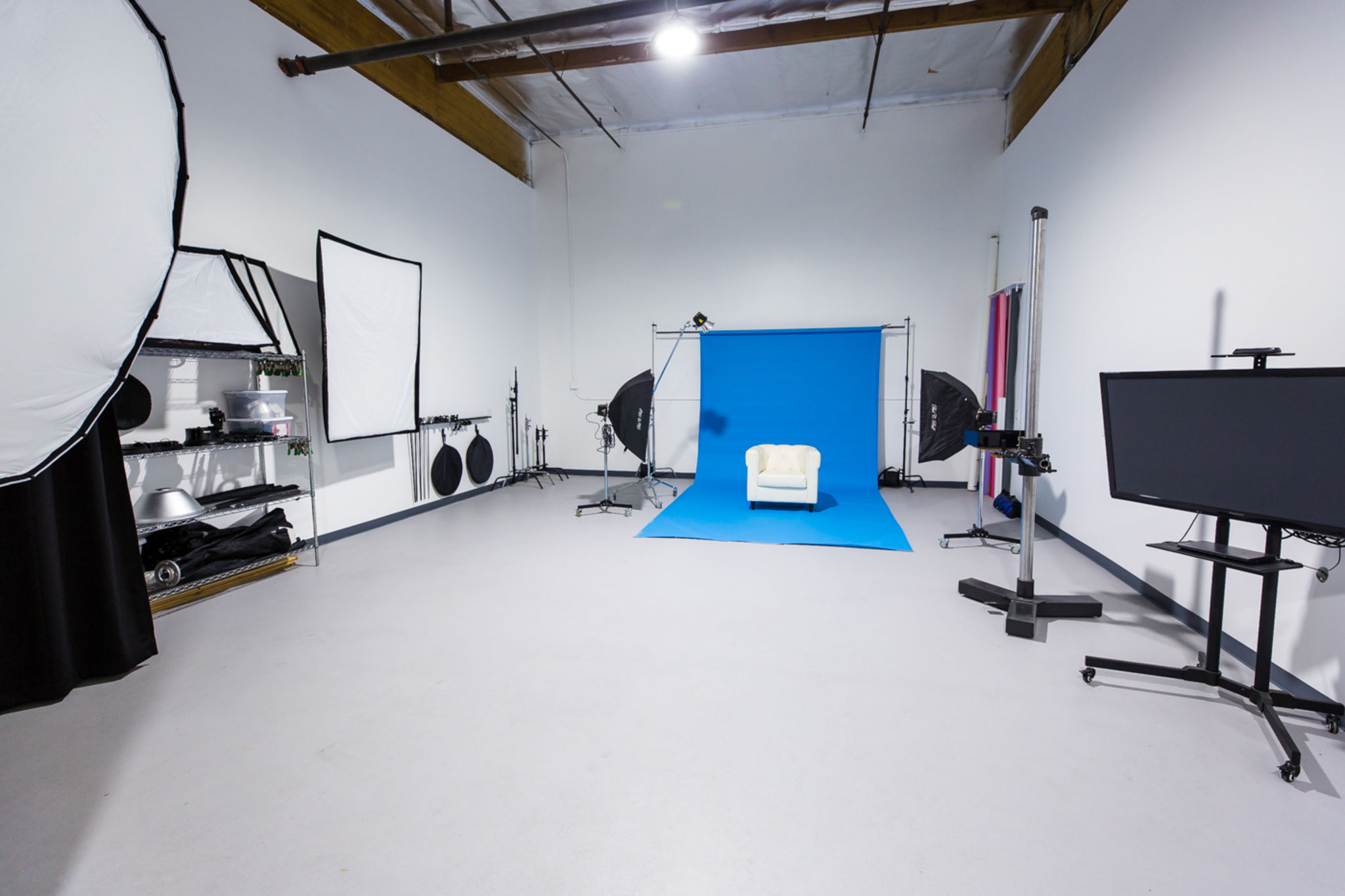 professional photography video studio with lighting equipment included