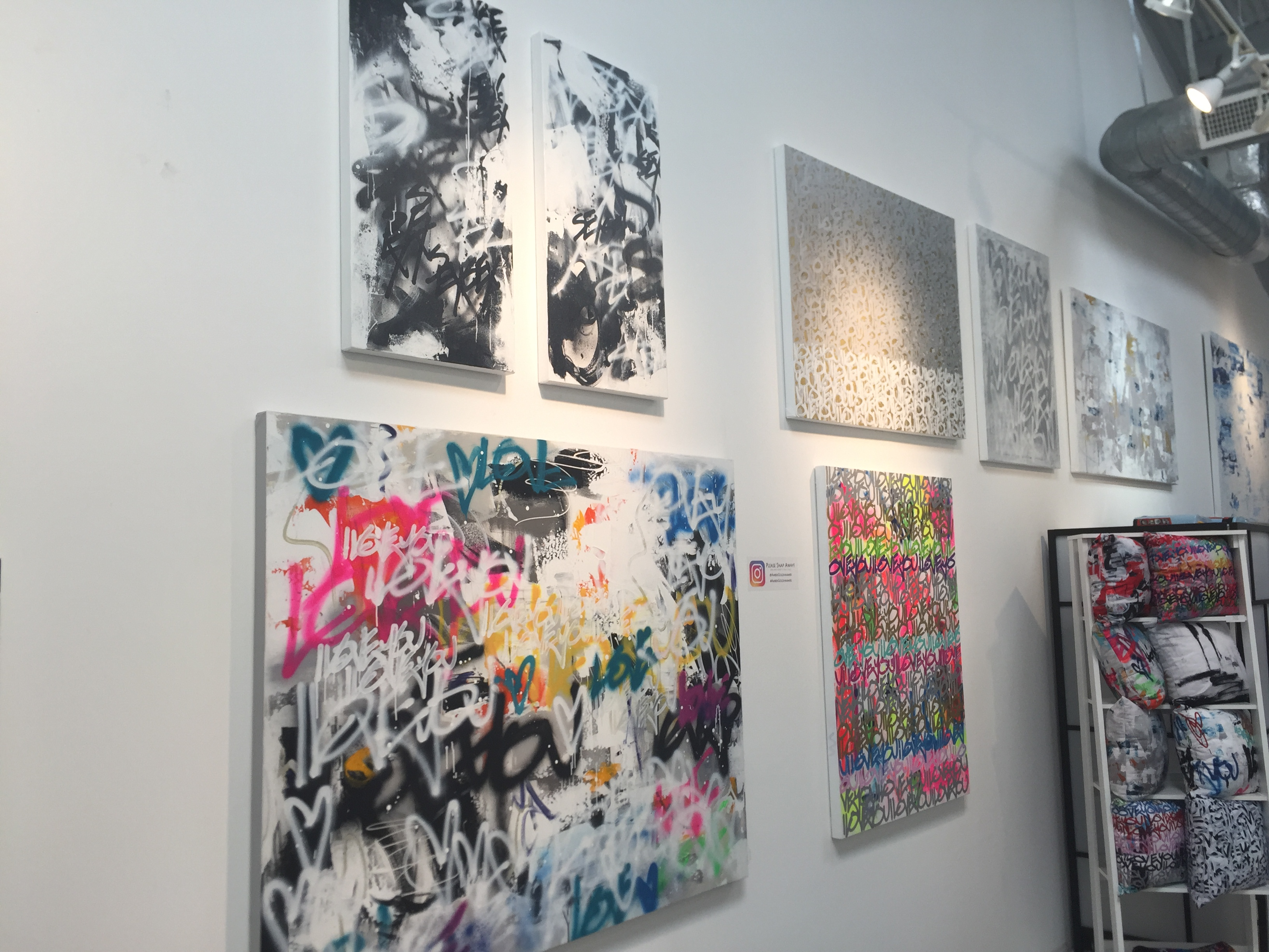The wall of Amber Goldhammer's studio.