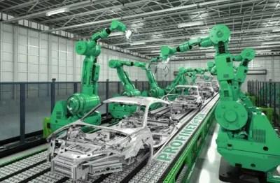 Robots making cars at AUDI
