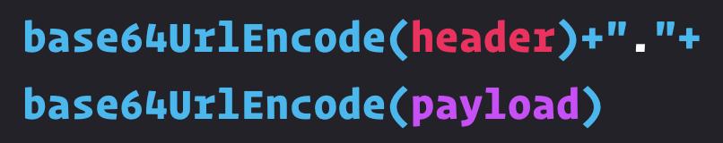 base64 URL encoded header + payload segments