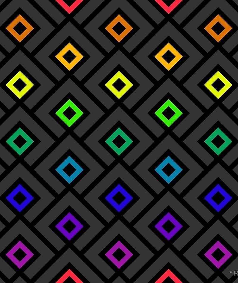 Geometric Pattern: Layered Diamonds / Red Wolf