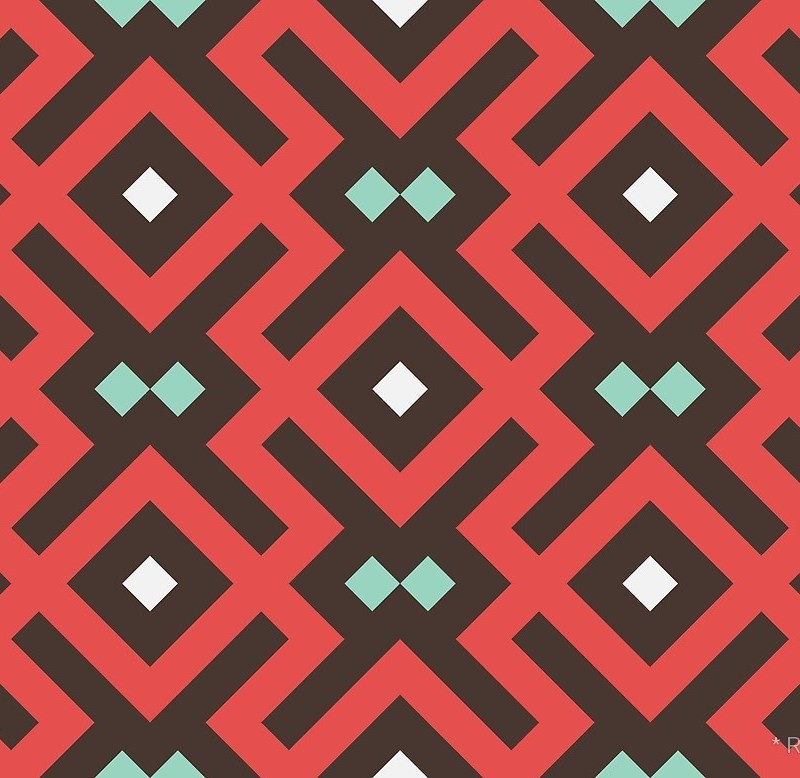 Geometric Pattern: Diamond Delta / Red Wolf