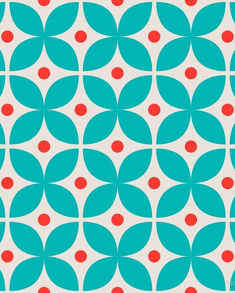Geometric Pattern: Stylised Flower / Red Wolf