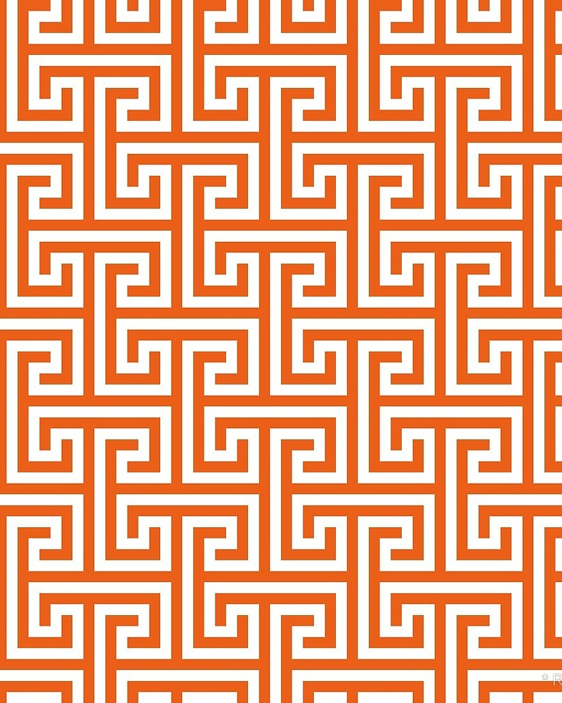 Geometric Pattern: Key Bridge Interlock Positive / Red Wolf