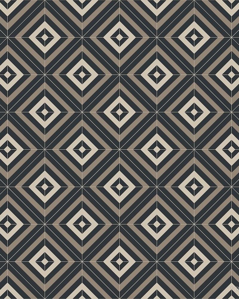 Geometric Pattern: Diamond Weave / Red Wolf