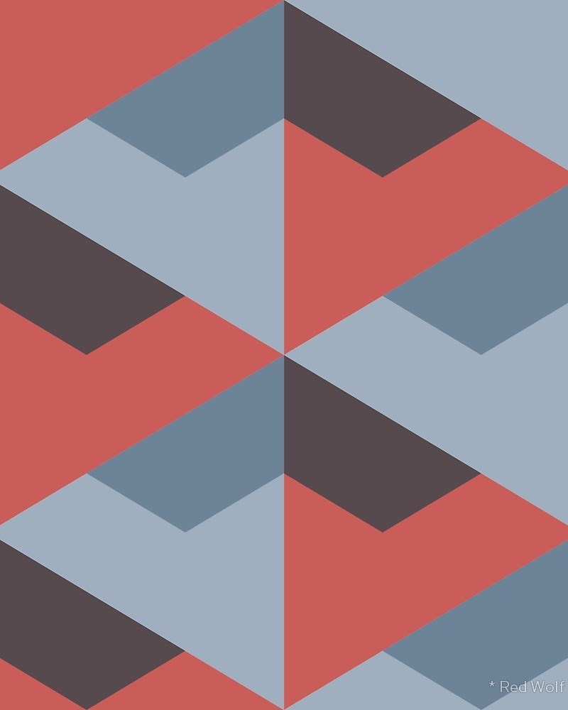 Geometric Pattern: Stealth / Red Wolf