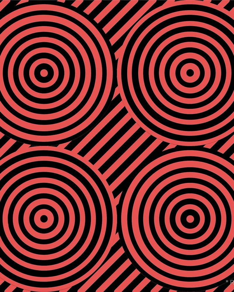 Geometric Pattern: Circle Strobe: Colour/Black / Red Wolf