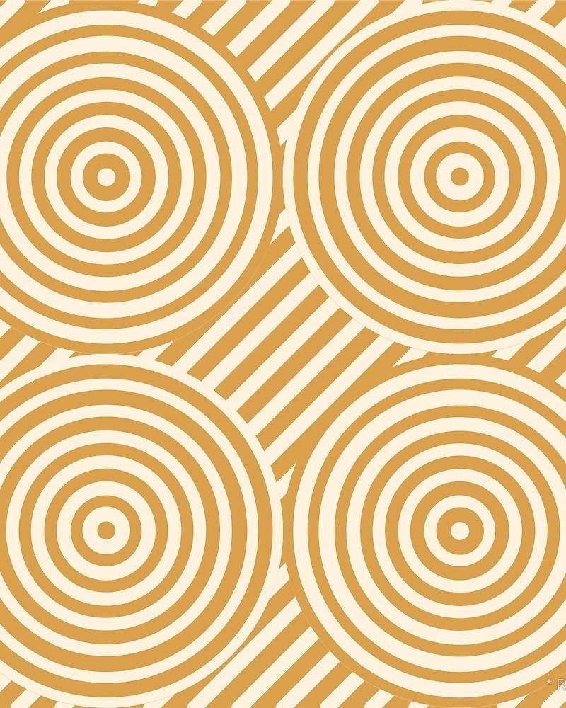 Geometric Pattern: Circle Strobe: Black/Cream/Gold