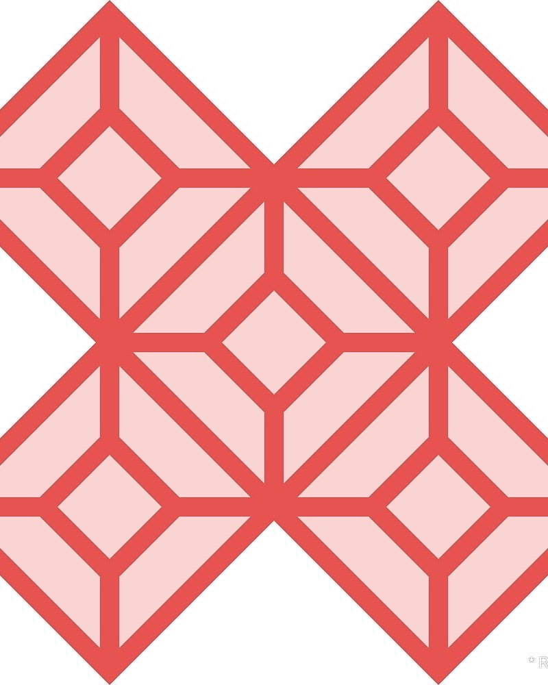 Geometric Pattern: Diamond Tile: Light / Red Wolf