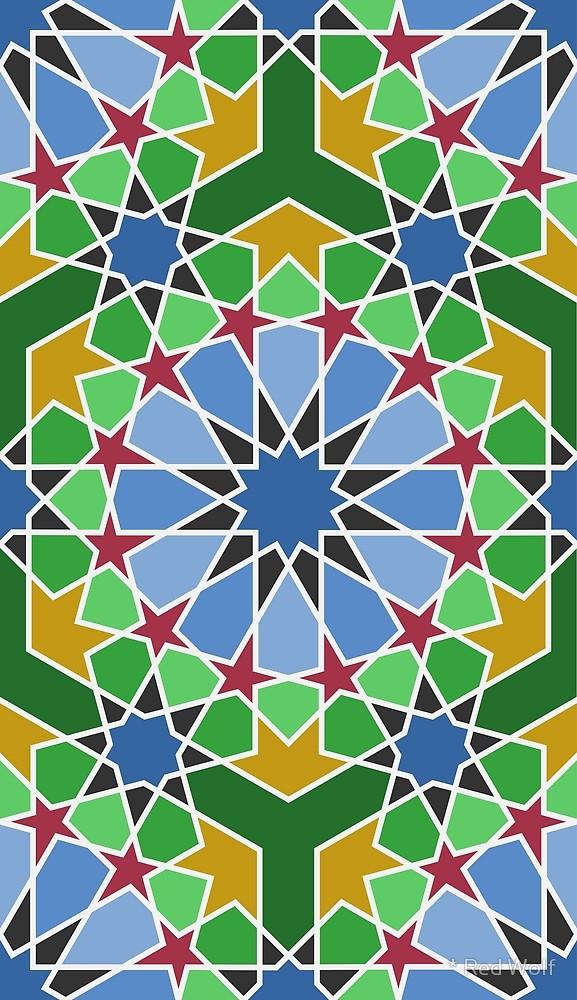 Geometric Pattern: Arabic Tiles: Seasons / Red Wolf