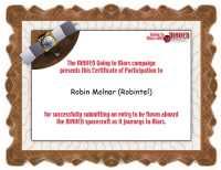 Certificat de participare la campania MAVEN a NASA, care atestă că am trimis ceva pe Marte, momentan știu sigur că numele meu, nu știu dacă și poemul haiku