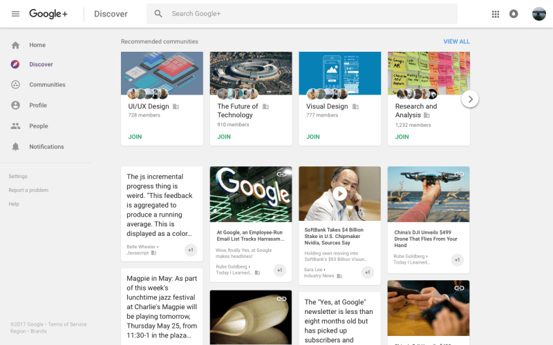 Google+ Discover tab