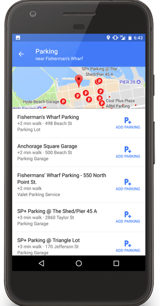 Google Maps Find Parking Lots