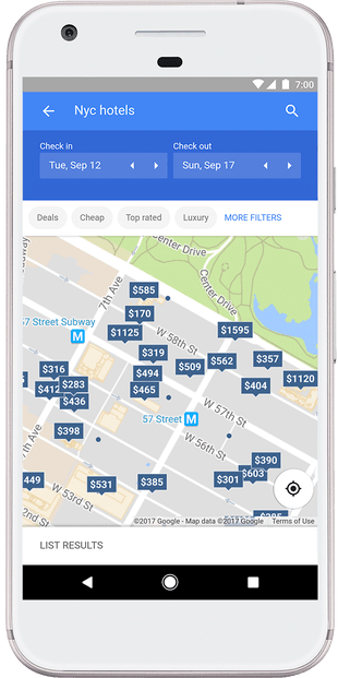Google hotel prices on a map