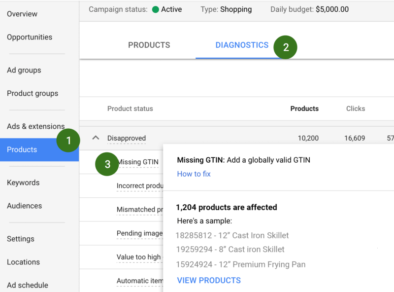 New diagnostics report in AdWords Products page
