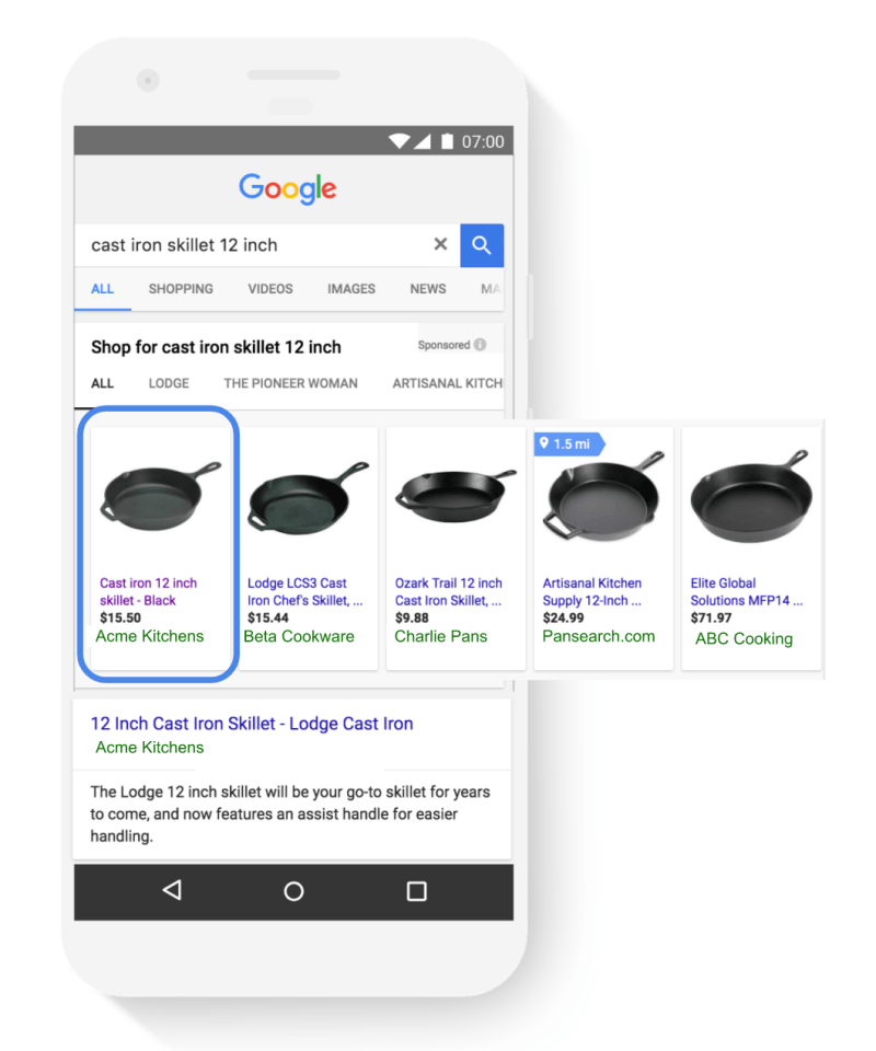 absolute top position in Google mobile Search results