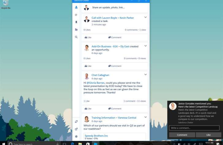 Salesforce Chatter app for Windows 10