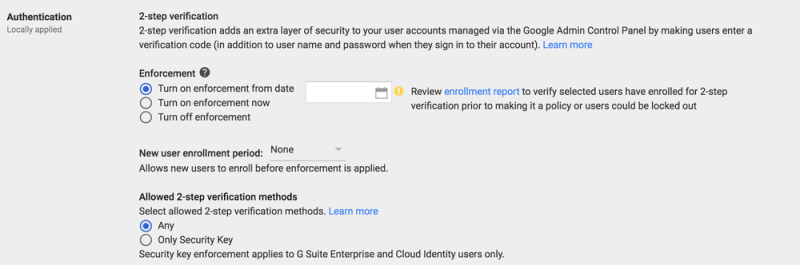 enforce 2-step verification in g suite