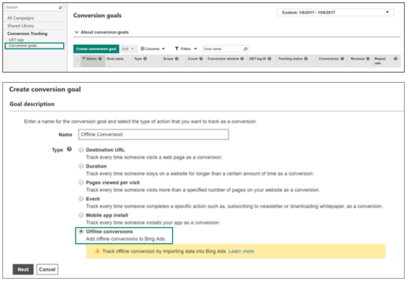 Bing Ads Conversion Goal - Offline Conversions Button