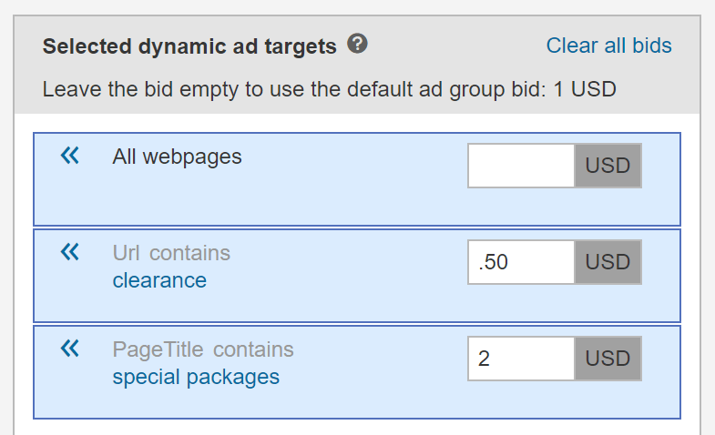 Dynamically select ad targets and budget for Bing Ads DSA campaign