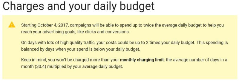 Google AdWords Daily Budget Doubles