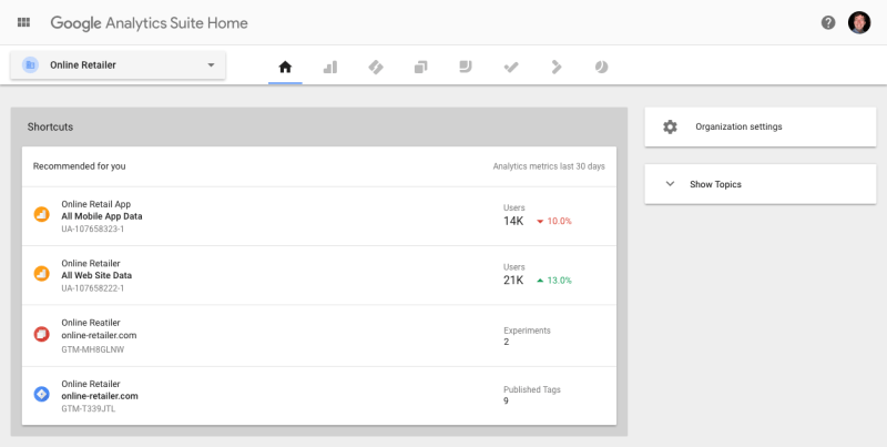 Google Analytics Suite Homepage