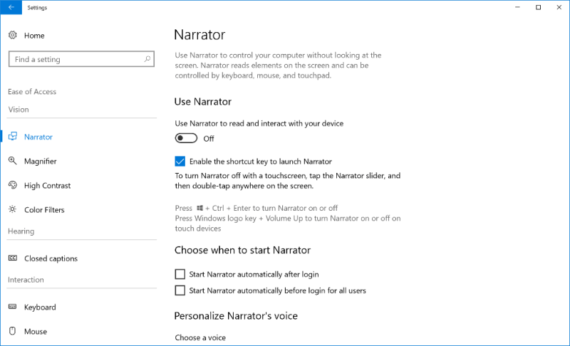 Ease of Access Settings in Windows 10 Build 17025