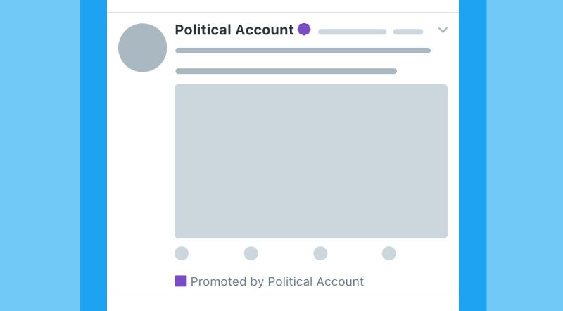 Example of electioneering ads UI on Twitter