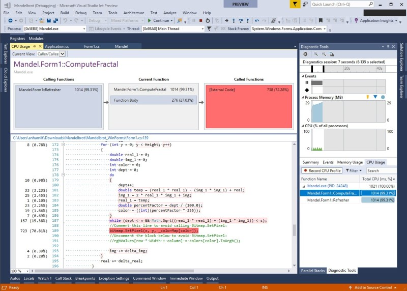 Visual Studio 2017 v15.6 Diagnostics