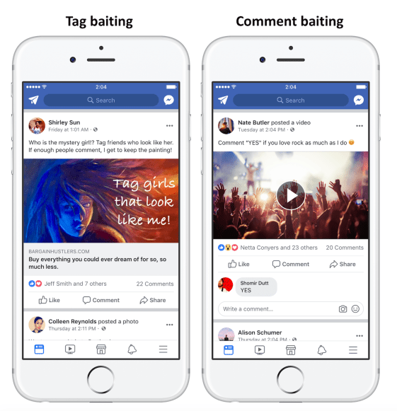 Tag and comment baiting on Facebook