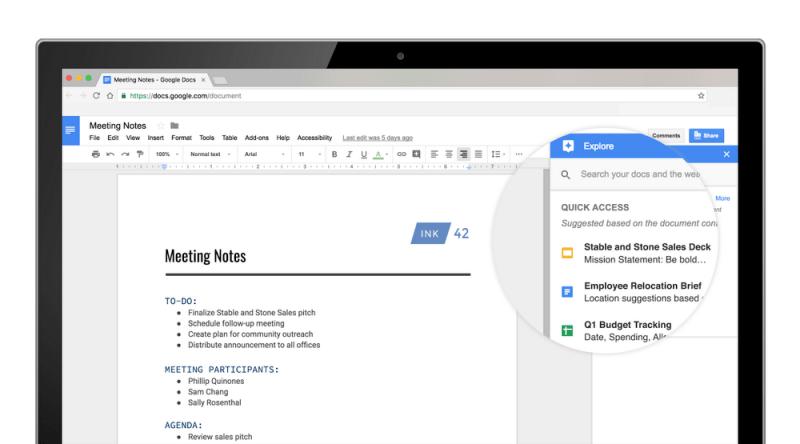 Quick Access in Google Docs