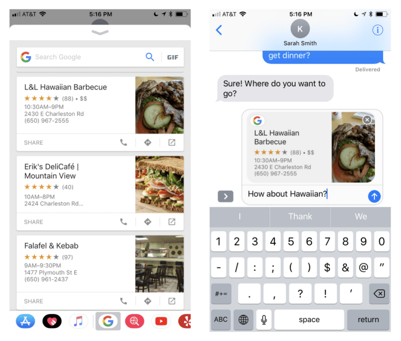 Google app for iOS iMessage extension