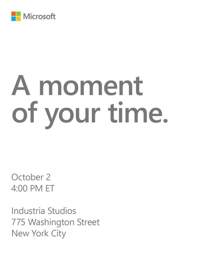 Microsoft October 2 Event Invite